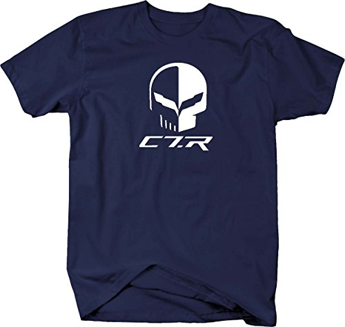 Chevy Corvette C7 Racing Punisher Skull with Flags T shirt - Medium