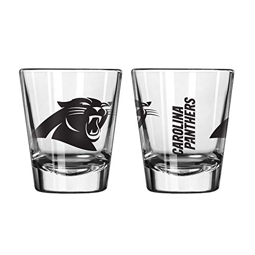 Official Fan Shop Authentic NFL Logo 2 oz Shot Glasses 2-Pack Bundle. Show Team Pride at Home, Your Bar or at The Tailgate. Gameday Shot Glasses for a Goodnight (Carolina Panthers) (Glass Panthers Team)