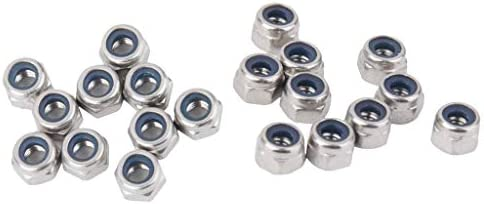 CHENBIN-BB 20枚のステンレス鋼ナット及びM3ナイロン首輪停止弾性セルフロックロックナット