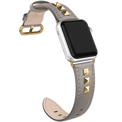 (SWEES Genuine Leather Band Compatible for iWatch Apple Watch 38mm 40mm Series 4, 3, 2, 1, Sports & Edition, Bling Dressy Designer Design Glitter Rivets Studs Small Leather Bands Strap for Women, Grey)