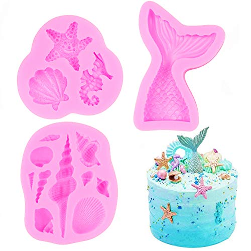 SAKOLLA Mermaid Theme Silicone Fondant Mold - Mermaid Tail Seashell Starfish Hippocampus Conch Silicone Mold for Under The Sea Cake Decoration, Gum Paste, Polymer Clay, Cupcake Decor, Sugar Craft (Cake Fondant Molds)