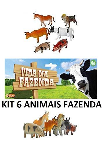 Kit 6 Animais Da Fazenda De Borracha Miniatura De Bichos