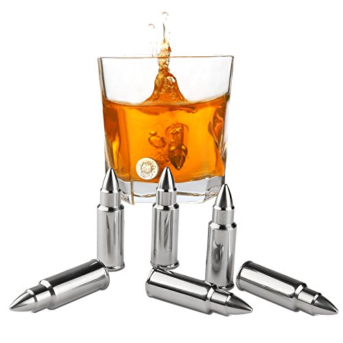 Premium Whiskey Stones Bullet Shaped Set of 6 - Stainless Steel Chilling Rocks Ice Cubes- Ice Stones With Tongs And Freezer Pouch, Great Gift Idea For Guys & Men, Whiskey, - Dollar Glasses Store Fake