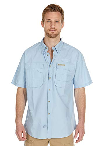 Baits Fishing Company | Men's Performance Fishing Shirt | Short Sleeve | Vented | 100% Cotton (Ice Blue, X-Large)