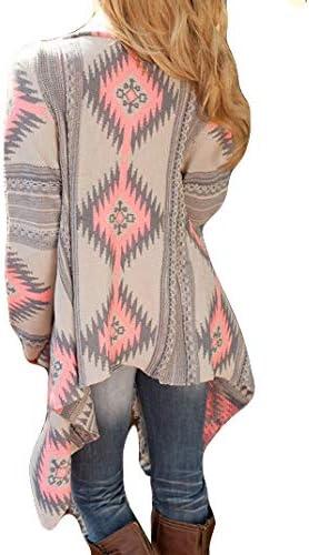 LOOLY Womens Aztec Print Drape Open Front Cardigan Sweaters