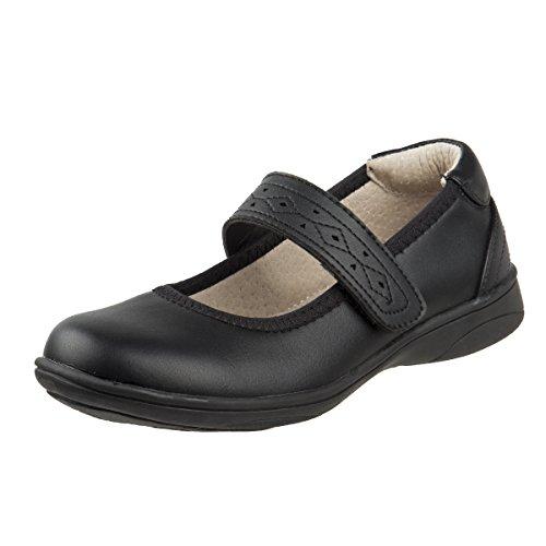 Leather Shoes Black School (Laura Ashley Girls Hook and Loop School Uniform Shoes, Black, 10 M US Toddler')