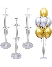 حاملات بالون، مجموعة من 4 حاملات للبالونات بتصميم شفاف، عمود لحمل البالونات والازهار، حامل لسطح الطاولة والمكتب للاحتفال بالتخرج واعياد الميلاد وديكور الحفلات
