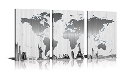 Tower World (Youk-art World Map Painting Canvas Silver Wall Art Black And White Little Blue Eiffel Tower Statue of Liberty Some Attractions Buildings Pictures Print On Canvas Paintings For Wall Decorations)