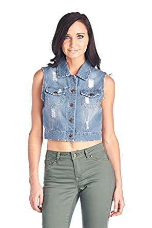 BLUE AGE Womens Denim Jean Jacket and Sleeveless Vest at Amazon ...