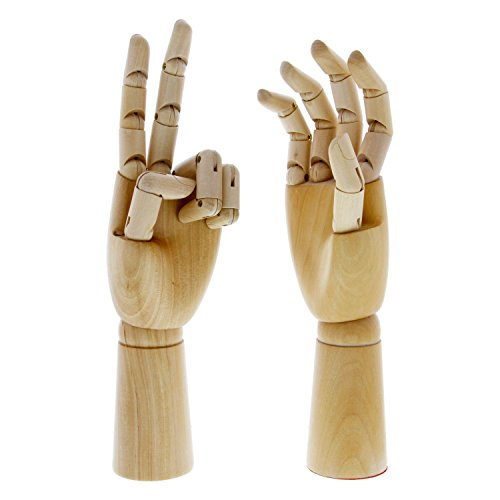 US Art Supply Pair of 12'' Left & 12'' Right Hands Wood Artist Drawing Manikin Articulated Mannequin with Wooden Flexible Fingers - Perfect for drawing the human hand (12'' Pair of Left & Right) by US Art Supply