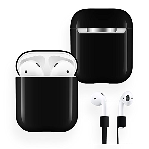 AirPods Case Protective, FRTMA Hard PC [No Collect Dust] Cover and Case for Apple AirPods with Anti-Lost Strap for AirPods Accessories (Black)