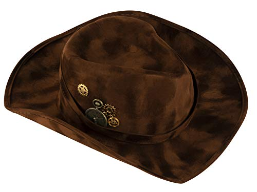(Felt Cowboy Hat - Steampunk Inspired Design Cowgirl Cap, Costume Cosplay Accessories, Unisex for Men, Women and Teens, Dark)