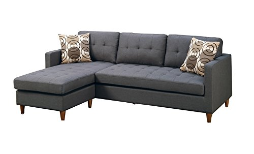 Asian Sectional Sofa (Poundex F7094 2-Pc Leta Collection Polyfiber Fabric Upholstered Reversible Sectional Sofa, Blue Grey Finish)