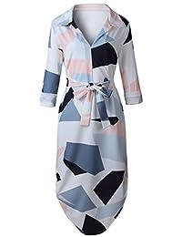 Bewish Womens V-Neck Long Sleeve Irregular Swing Square Printed T-Shirt Style Dress