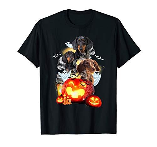 Dachshund pumpkin t-shirt Funny boo dog witch pumpkin