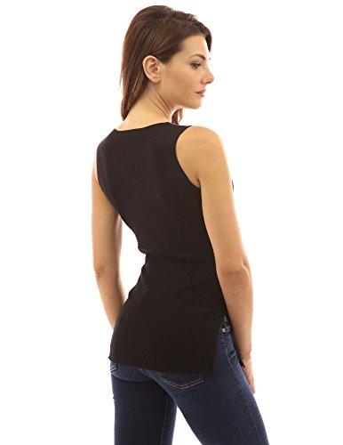 PattyBoutik Mujer v fractura del lado del cuello estándar de delantal negro