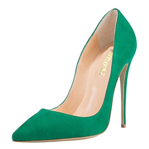 VOCOSI Women's High Heels,Pointed Toe Patent Pumps Shoes for Ladies Party Dress 4.7 inches S-Green 8.5 US