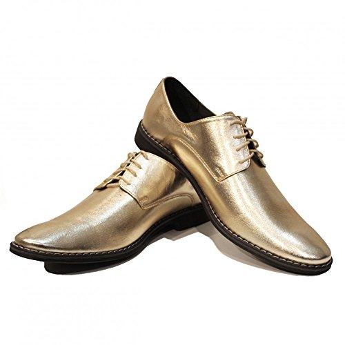 Modello Oro - Chaussures d'or de la main Colorful italienne cuir uniques hommes