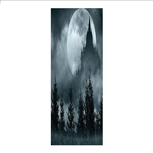 3D Decorative Film Privacy Window Film No Glue,Halloween,Magic Castle Silhouette Over Full Moon Night Fantasy Landscape Scary Forest,Grey Pale Grey,for Home&Office]()