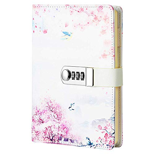 Sealei A5 (8.47 X 5.9 Inch) Lock Journal Diary Notebook Combination Locking Journal Diary (Diary With Combination Lock) (Style 3) (Diary Girls For With Lock Teen)