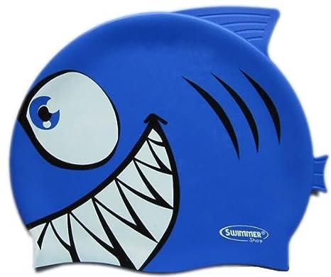 Cuffia piscina squalo in silicone colore blu. Clicca sull immagine per la  visualizzazione estesa e71218b1d5b1