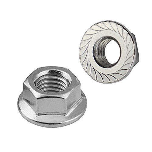 3/8-16 Serrated Flange Hex Lock Nuts, Stainless Steel 304, Bright Finish, Quantity 25