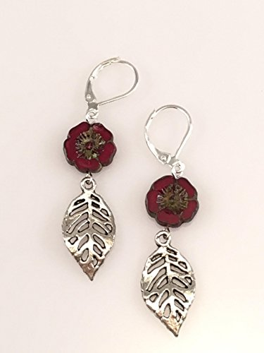 Red Czech Glass Flower with Leaf - Glass Czech Earrings