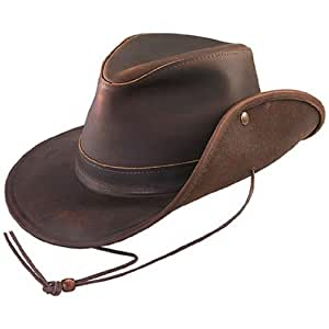 Henschel Aussie Oiled Leather Hat (Small, Brown)