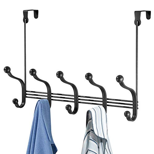 mDesign Decorative Over Door 10 Hook Metal Storage Organizer Rack for Coats, Hoodies, Hats, Scarves, Purses, Leashes, Bath Towels, Robes, Men and Womens Clothing - Matte Black