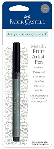 Scrapbooking Silver Ink (Faber-Castell Design Memory Craft PITT Artist Pen, Ultra Fine Point with India Ink for Journaling and Calligraphy, Metallic)