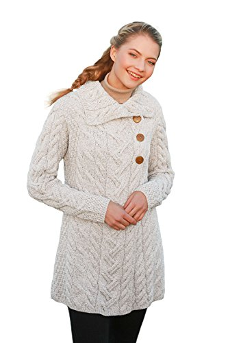 Wool Long Natural (3 Buttoned Supersoft Merino Wool Long Cardigan (Small, Natural))
