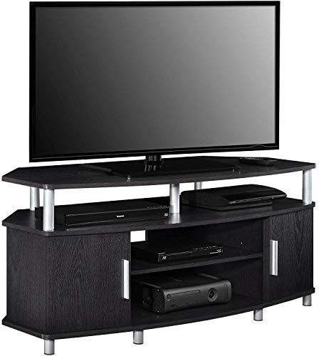 (Auténtico LED LCD Plasma Smart TV Stand Unit Entertainment Media Console Cabinet 2 Open Cubbies for Storing Cable Box DVDs Games 2 Side Storage Cabinet Accommodates Up to 50' Wide Flat Paneled TV)
