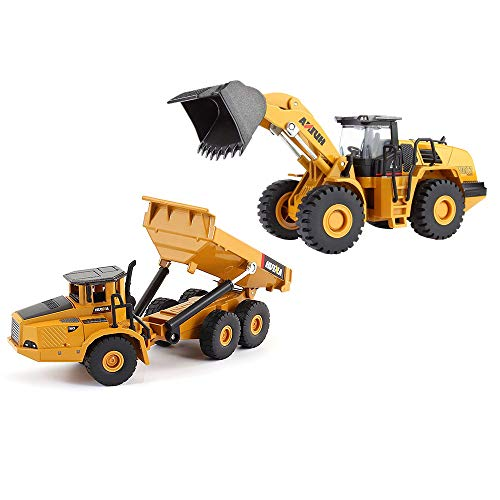 Geminismart 1/50 Scale Die-cast Articulated Dump Truck Loader Engineering Vehicle Construction Toys for Kids and Decoration House (Dump Truck&Loader Gift -