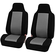FH-FB102102 Classic Cloth Car Pair Set Seat Covers Gray / Black- Fit Most Car, Truck, Suv, or Van