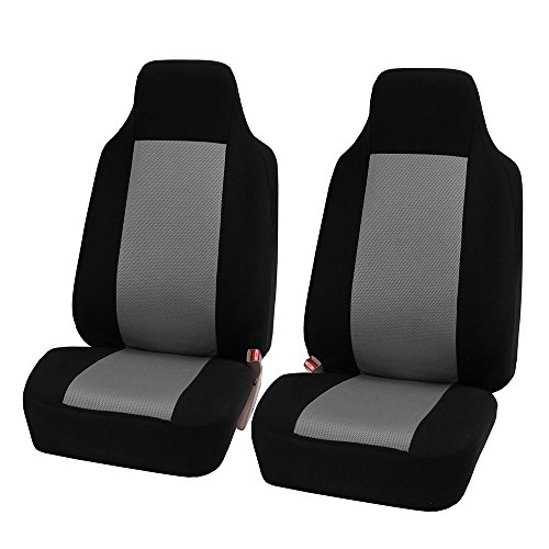 FH-FB102102 Classic Cloth Car Pair Set Seat Covers Gray/Black- Fit Most Car, Truck, SUV, or Van