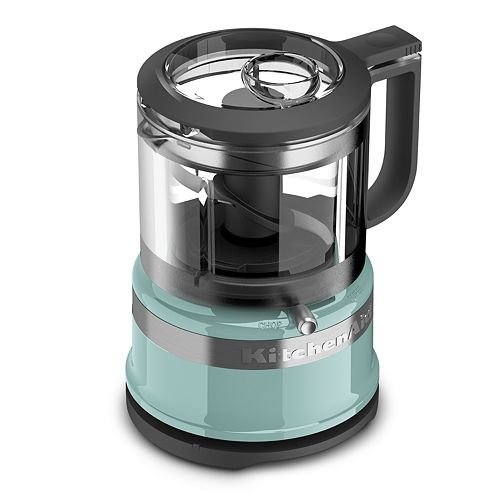 KitchenAid KFC3516 3.5-Cup Stainless steel, Plastic Base: wipe clean and Removable parts: hand wash Mini Food Processor - ICE BLUE