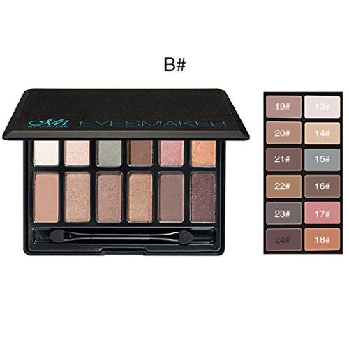 Matte Eyeshadow , Hunzed Women Smoky Cosmetic Eye Shadow Set 12 colors Professional Natural Matte Eyeshadow Cosmetics (B)