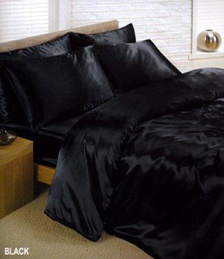 Black Satin Silk Duvet Sheet Cover Set King Size 6 Pcs