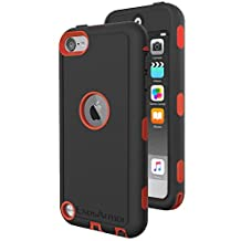 iPod Touch 6th Generation Tough Case & Jogging Clip, ExosArmor (Warrior Series) Tough Cover for Apple iTouch 5/6 [Triple Layer] Hybrid Shell w/ Built In Screen Protector (Red)