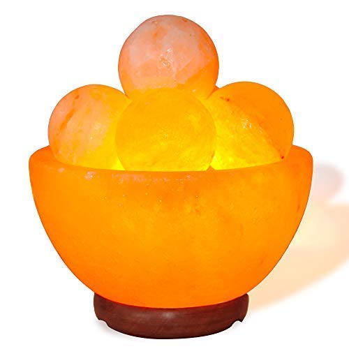 pursalt Himalayan Massage Salt Lamp Bowl with 5 Massage Balls Hand Carved Taly Wood Base Pink Crystal Rock Salt for Air Purifying, Home Dcor, Gifts, Extra Replacement Bulb, Salt Lamp Night Light