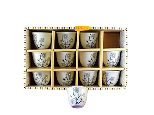 Turkish Arabic Coffee Cups Gawa Set of 12 Flower Design with Crystal Stones (Silver)