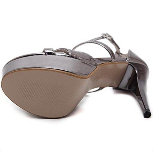 hebilla bueno plataforma boca Brown zapato de W sandalias amp;LM sandalias pez Cruz ms tacones altos impermeable XwOx7nqAZ