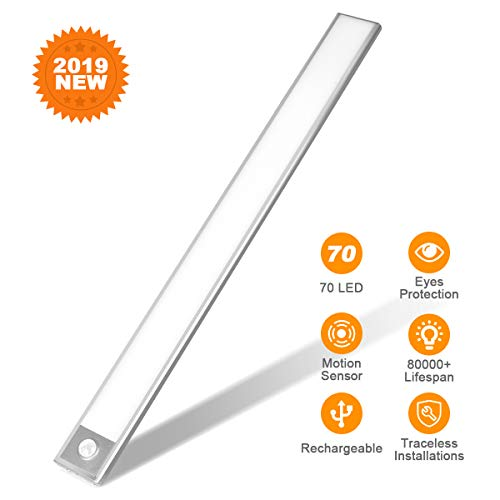 Cabinet Lighting Bar - 70 LED Closet Light, Rechargeable Eye Protection Under Cabinet Lighting Bar, Energy Saving Motion Sensor Motion Lighting Luxury Aluminum Lighting for Indoor,Outdoor,Kitchen,Cabinet (2 Sensor Modes)