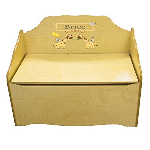 Personalized Giraffe Childrens Natural Wooden Toy Chest by MyBambino