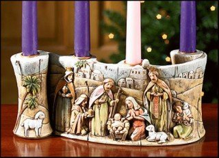Holy Family in Bethlehem Nativity Scene Resin Advent Candleholder, 10 1/2 ()
