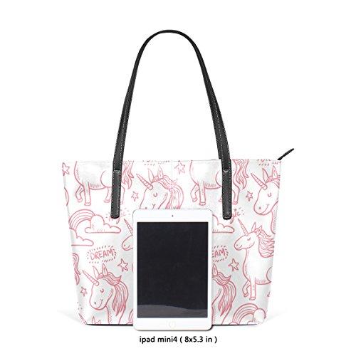 Unicornio Impresión Top Wo Bolsos Mujer De Multicolor2 Deyya Bolsa Mango Asas Hombro xBq0a8zw