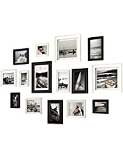 15 Pcs Wood Picture Frame Collage Set, Multiple Different Sizes Photo Frames with Transparent Glass for Gallery Living Room Staircase Decor, Black + White Frame