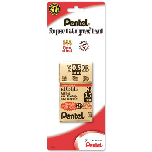 (Pentel Refill Super Hi-Polymer Lead, 0.5mm, Fine, 2B, 144 Pieces of Lead (C505BP2B-K6))