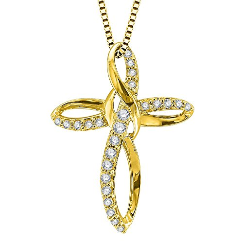 - IGI Certified 10k Yellow Gold Diamond Cross Pendant Necklace (1/3 Carat)