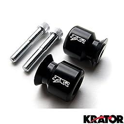 Krator ZXR Logo Black Swingarm Spools Sliders Motorcycle For Kawasaki Ninja ZX-10R ZX1000 2004-2010